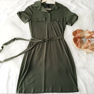 Green Pull Tab Sleeve Stretchy Shirt Dress